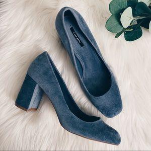 Zara Velvet Denim Blue Heels